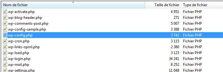 récupération du fichier wp-config.php