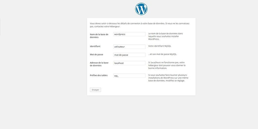 installer wordpress étape 2