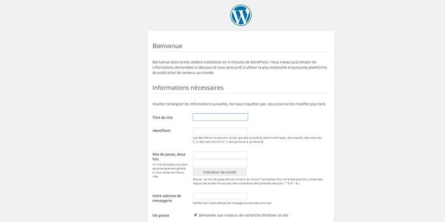 installer wordpress étape 4
